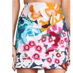 cad38ef557 Shakuhachi Skirts - Flower Bomb Embroidered Mini Skirt - Shakuhachi